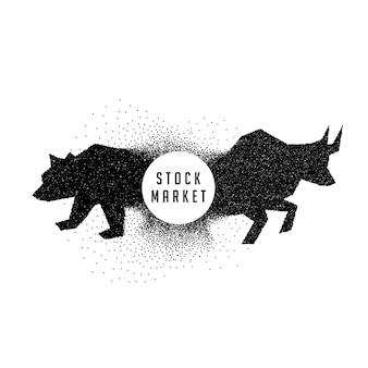 Conceito de conceito de mercado de ações mostrando touro e urso