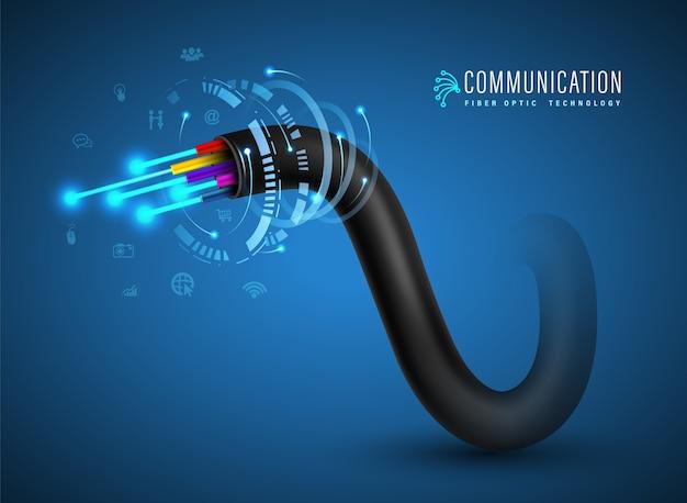 Conceito de conexão de cabo de fibra óptica de comunicação de tecnologia