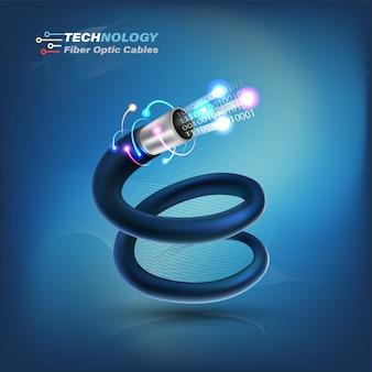 Conceito de conexão de cabo de fibra óptica