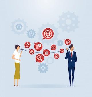 Conceito de conexão de comunicação de negócios
