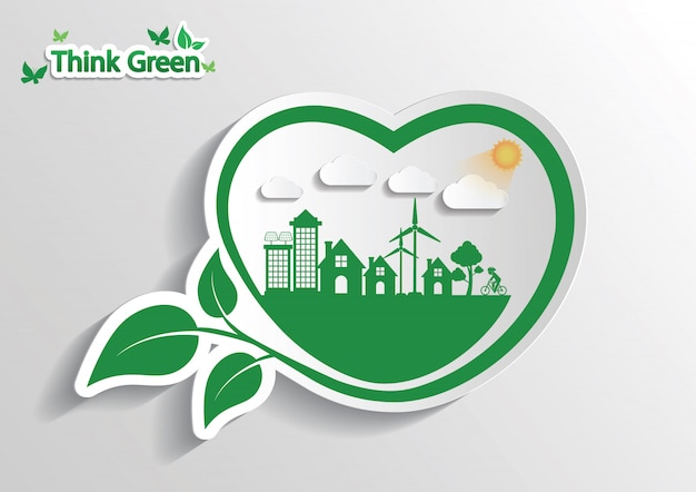 Conceito de conexão de ecologia. pensa verde