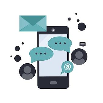 Conceito de conexão de rede de mídia social
