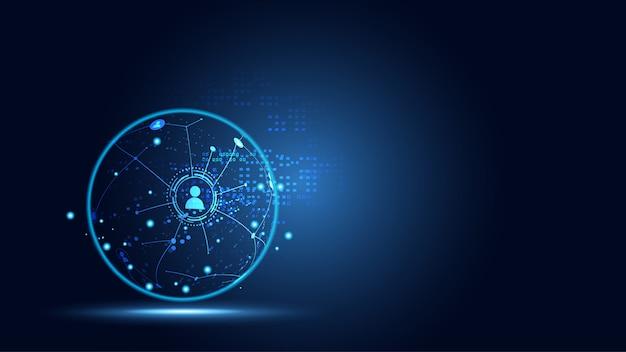 Conceito de conexão de rede global de negócios de tecnologia conectando