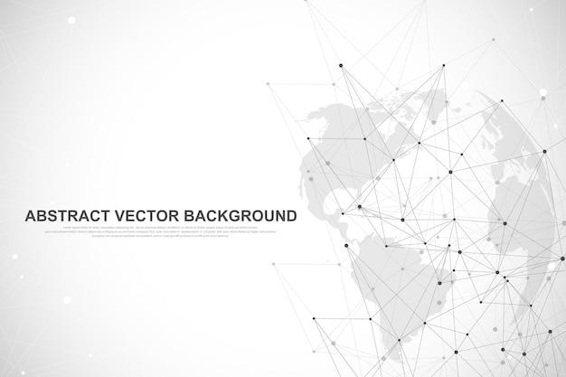 Conceito de conexão de rede global. visualização de big data.
