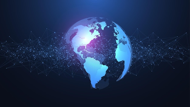 Conceito de conexão de rede global.