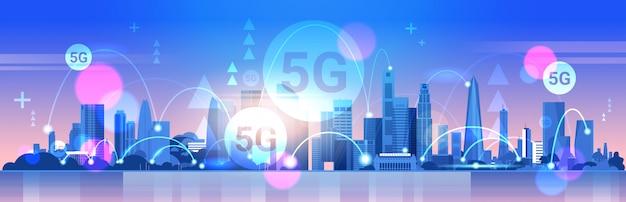 Conceito de conexão de sistemas sem fio de rede de comunicação on-line cidade inteligente 5g