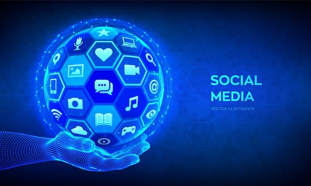 Conceito de conexão global de mídia social. redes sociais e blogs. esfera 3d abstrata com ícones na mão de wireframe.