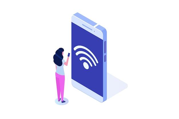 Conceito de conexão sem fio. dispositivos conectados remotamente. ilustração vetorial.