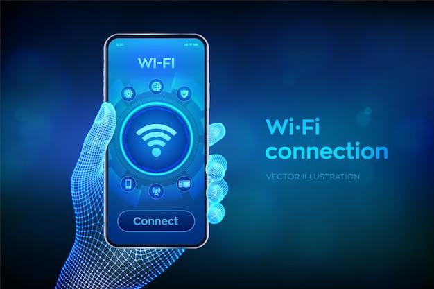 Conceito de conexão sem fio wi fi. conceito de internet de tecnologia de sinal de rede wifi grátis. closeup smartphone na mão de wireframe.