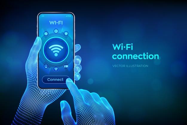 Conceito de conexão sem fio wi-fi. conceito de internet de tecnologia de sinal de rede wifi grátis. closeup smartphone nas mãos de wireframe.