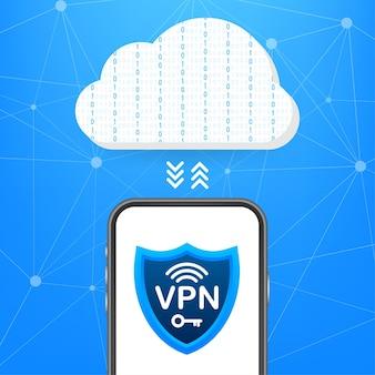Conceito de conexão vpn segura. visão geral da conectividade da rede privada virtual. ilustração em vetor das ações. ilustração vetorial