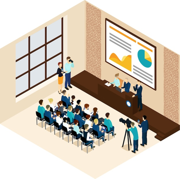 Conceito de conferência de negócios isométrica