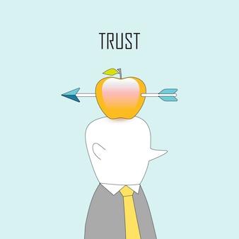 Conceito de confiança: uma flecha disparando na maçã em estilo de linha