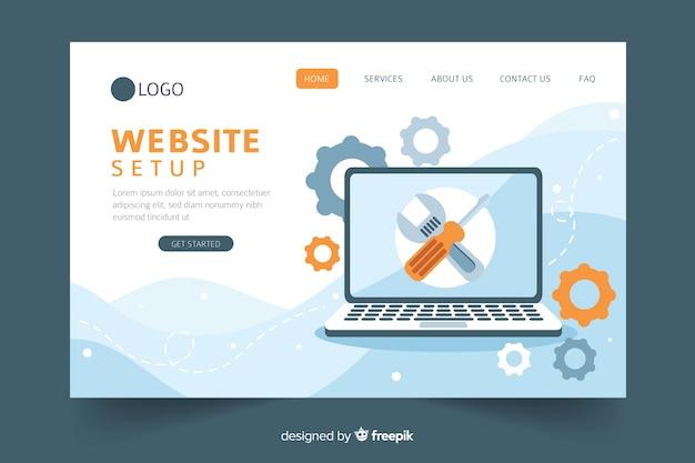 Conceito de configuração do site para a página de destino