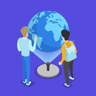 Conceito de conhecimento e educação. aprendizagem de geografia online na universidade. ciência e brainstorming. ilustração isométrica