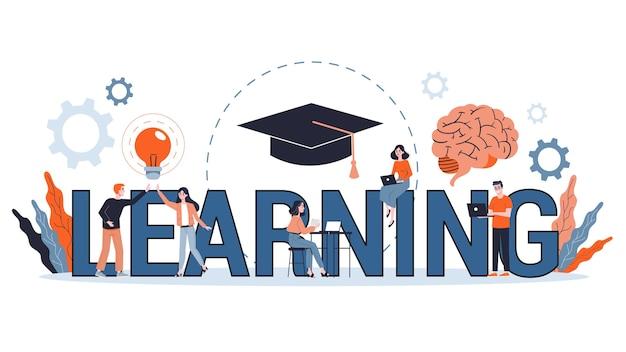 Conceito de conhecimento e educação. pessoas aprendendo online na universidade. ciência e brainstorming. ilustração