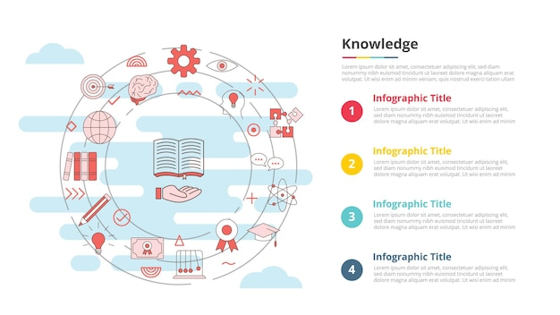 Conceito de conhecimento para banner de modelo de infográfico com informações de lista de quatro pontos