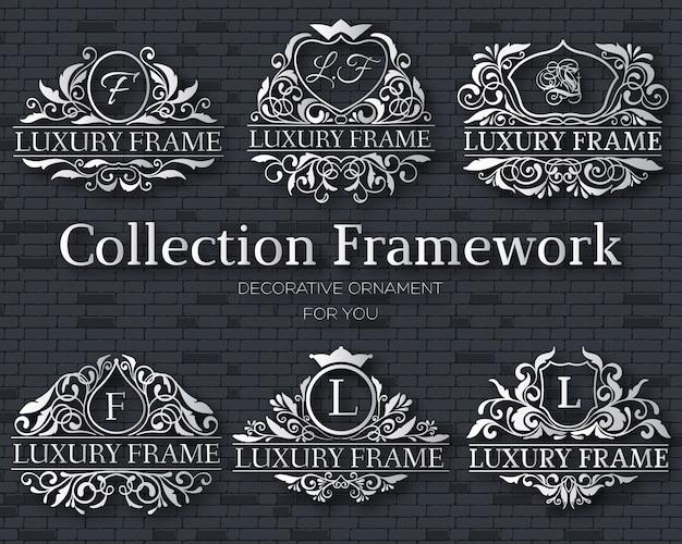 Conceito de conjunto de coleção de rótulo dourado de luxo
