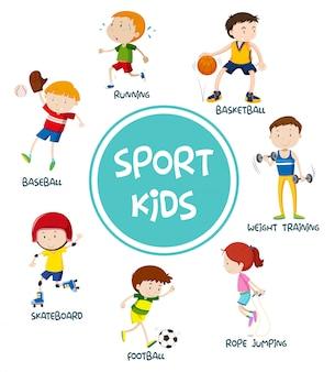 Conceito de conjunto de crianças de esportes