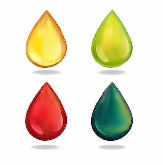 Conceito de conjunto de ícones de cor de óleo de gota realista