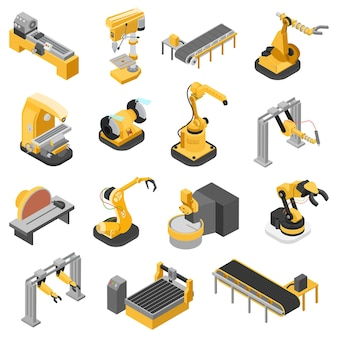 Conceito de conjunto de ícones de máquinas de indústria pesada isométrica 3d plana