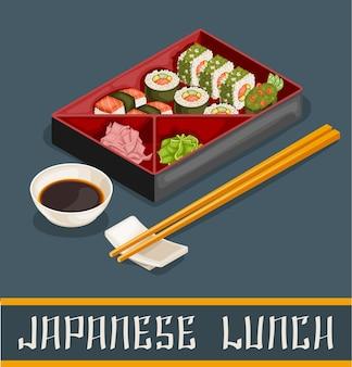 Conceito de conjunto de sushi japonês