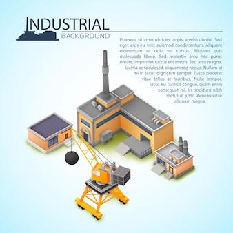 Conceito de conjunto industrial 3d com guindaste e fábricas para diferentes finalidades com lugar para texto