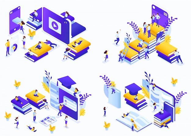 Conceito de conjunto isométrico e-learning, oportunidades para estudantes de todo o mundo receberem educação gratuita e paga. conceitos de ilustração moderna para site