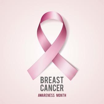 Conceito de conscientização de câncer de mama com texto e fita rosa realista. ilustração