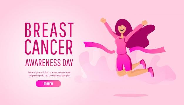 Conceito de conscientização de câncer de mama de esporte ou caridade, correr com jovem