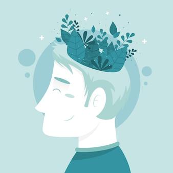 Conceito de conscientização de saúde mental com homem vestindo folhas coroa