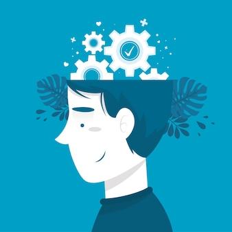 Conceito de conscientização de saúde mental com rodas de engrenagem
