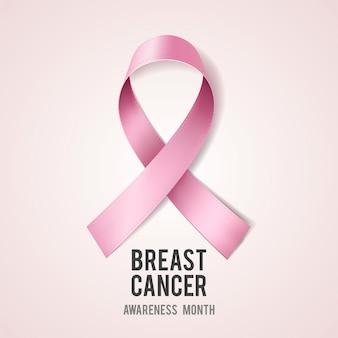 Conceito de conscientização do câncer de mama com texto e fita rosa realista.