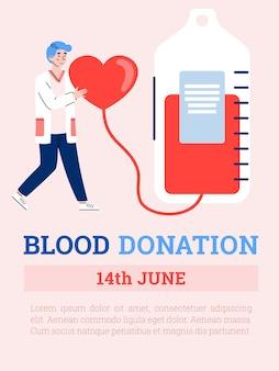Conceito de conscientização sobre o dia mundial do sangue, uma ilustração em vetor plana