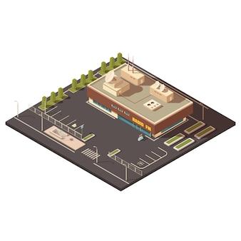 Conceito de construção de centro de rádio com estacionamento e ilustração em vetor isométrica equipamentos
