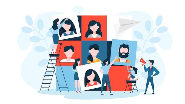 Conceito de construção de equipes. grupo de pessoas se reúnem e trabalham