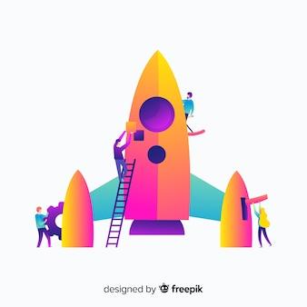 Conceito de construção de foguete plana gradiente