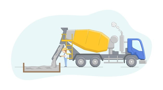 Conceito de construção. motorista de betoneira no trabalho. o trabalhador controla o processo de concretagem. empregos de operador de maquinaria de construção. personagem masculino no trabalho. Vetor Premium