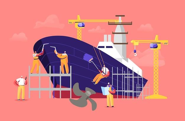 Conceito de construção naval. engenheiros personagens masculinos montando veículo náutico ficam em andaime em navio de soldagem e pintura de doca. ilustração em vetor desenho animado da indústria de construção e manufatura