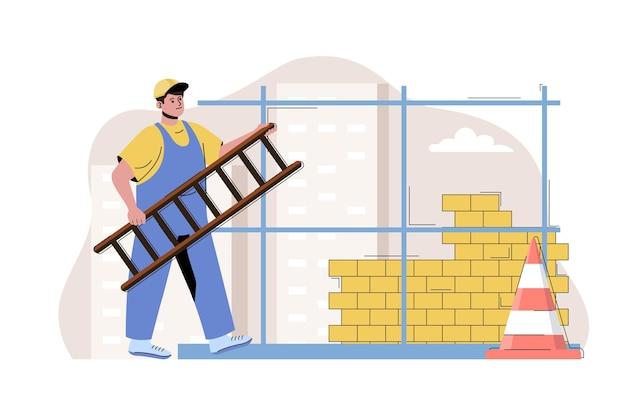 Conceito de construção urbana homem construindo parede de tijolo construtor construir casa