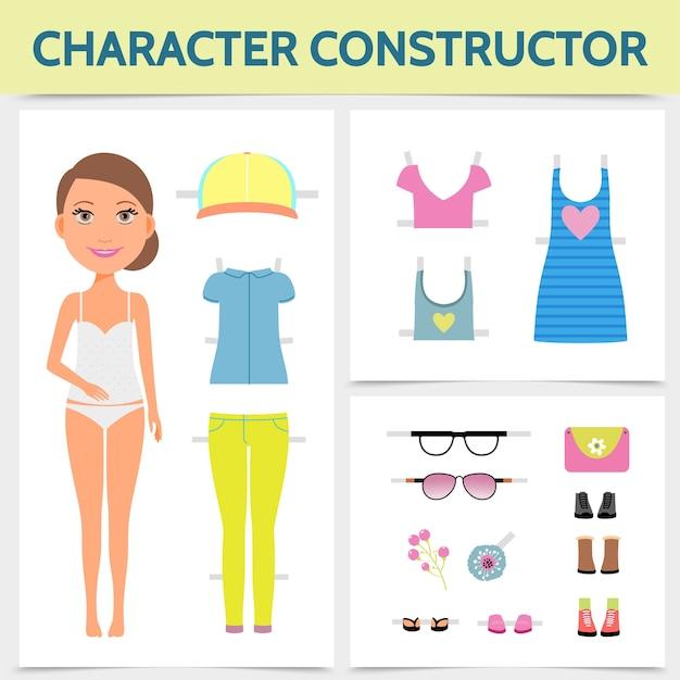 Conceito de construtor de personagem de mulher plana