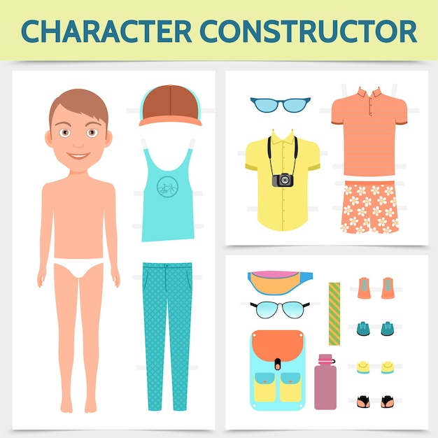 Conceito de construtor de personagem masculino plana com câmera de tênis com tampa de bolsa de viagem para roupas de verão