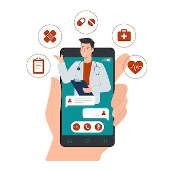 Conceito de consulta médica online com médico masculino na tela do smartphone