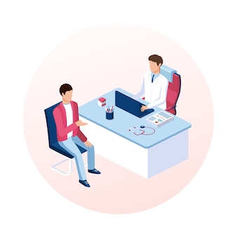 Conceito de consulta médica. recepção do paciente. ilustração em vetor isométrica.