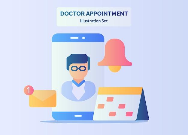 Conceito de consulta médica tela do smartphone calendário lembrete notificação por e-mail