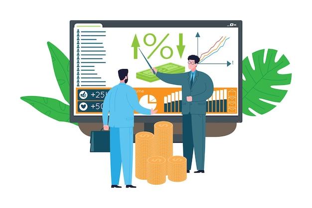 Conceito de consultoria de negócios. o especialista assessora e compartilha conhecimentos com o cliente, dá suporte no desenvolvimento de uma estratégia, calcula para atingir a meta e obter sucesso e lucro. Vetor Premium