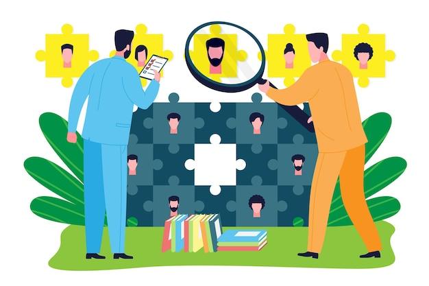 Conceito de consultoria de negócios. um especialista em gestão de recursos humanos fornece assessoria e apoio ao pessoal na busca, seleção e recrutamento de um candidato para o cargo de funcionário. Vetor Premium
