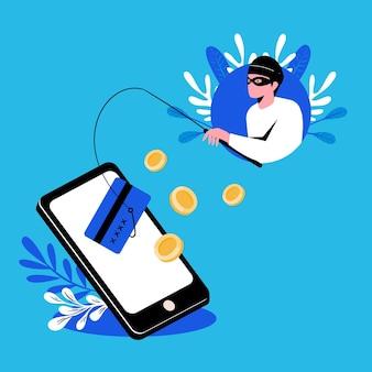 Conceito de conta de phishing com hacker e vara de pescar