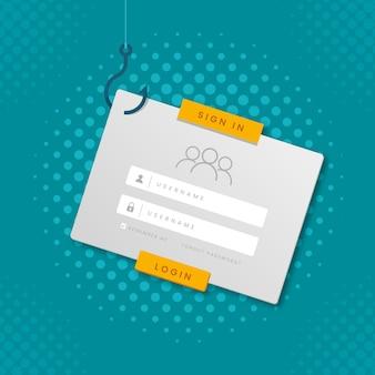 Conceito de conta de phishing