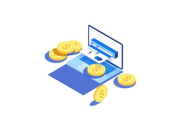 Conceito de conta eletrônica e banco on-line, laptop com fita de seleção.